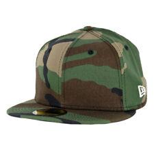 "New Era 59Fifty ""Plain Blank"" Fitted Hat (Woodland Camo) Men's Uniform Cap"
