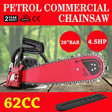 """62cc Petrol Commercial Chainsaw 4.5HP 20"""" Bar Pro-Series Pruning Sharpener"""