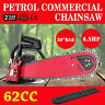 "62cc Petrol Commercial Chainsaw 4.5HP 20"" Bar Pro-Series Pruning Sharpener"