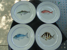 Williams Sonoma La Mer Blue Rim & Verge Fish White Dinner Plate Set