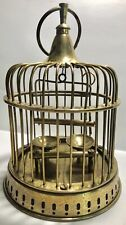 Vintage Mid Century Brass Bird Cage Hanging or Table-top Water Food Bowls Swing
