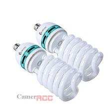 2x 125W (2x 625W eq) Daylight Light Bulb E27 CFL Bulbs Photo Studio UK Local