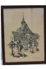 ROBERT KUVEN (1901-1983) - église en Alsace Original-Lithographie (7)
