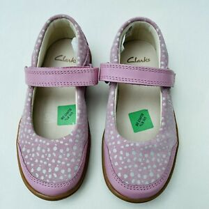 NEW Clarks Size 8.5G Flash Stripe Dusty Pink Leather Toddler Shoes EU26W