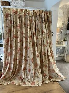 Vintage Gold Cream Autumnal Floral Muslin Large Single Curtain
