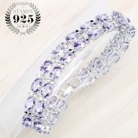 Large Purple Tennis CZ Crystals Bracelets Silver Xmas Gifts For Her Mother Women