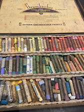 Vintage Grumbacher Very Large 10x16 Soft Color Pastels Set 8-9 In Wooden Case