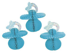 3 Blue Honeycomb Tissue Paper Baby Dummy -  Baby Shower