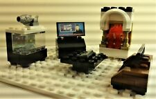 Lego Custom LIVING ROOM FURNITURE. Couch FIRE PLACE. FISH TANK. TV W/REMOTE