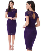 Goddess London Purple Lace Short Sleeve Wiggle Knee Length Evening Party Dress