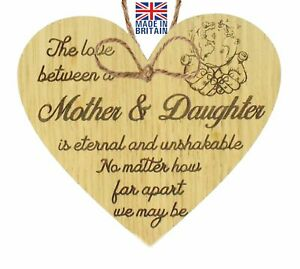 Mother And Daughter Heart Plaque Gifts Keepsake Mum Birthday Mother day Gift