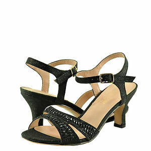Women's Shoe Blossom Crystal 32W Open Toe Embellished Dress Heels Black *New*
