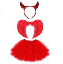 Teufelin Kostüm Set Halloween Mädchen Teufelin Fasching Karneval Kostüm Set Rot