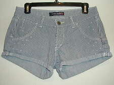 """Sz. 5 """" Levis Strauss """"  Low Rise Navy Striped Cuffed Splattered Paint Shorts"""