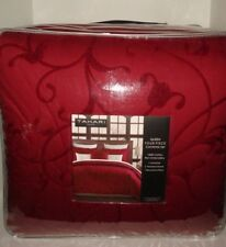 Tahari Home 4Pc Embroidered Queen Comforter Shams Decorative Pillow Set Nip Red