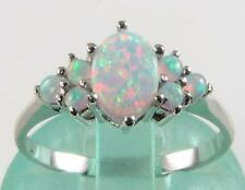 STUNNING 9K CRISP WHITE GOLD ENGLISH AAA ALL OPAL CLUSTER RING FREE RESIZE