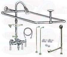 Chrome Clawfoot Tub Faucet Add-A-Shower Kit W/Drain-Supplies & Stops - #11509
