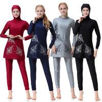 Women Full Cover Swimsuit Modesty Swimwear Muslim Islamic Beachwear Burkini Set