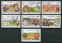 Mongolia 2018 MNH Landscapes Flowers Animals 7v Set Birds Deer Mountains Stamps