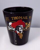 Pirate St Thomas VI Virgin Islands Shot Glass Black Bar Collectible Barware Ship