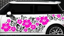 122-teiliges Autocollants Pour Voiture Hibiscus Fleurs Papillons Hawaï et