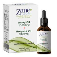 Zane Hellas 15000mg Hemp Oil,6000mg of Essential Oregano Oil.1fl.oz