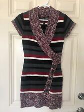 Womens Juniors Red Paint Sweater Dress Sz S Small Gray Red White