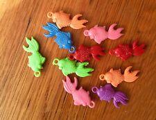 KAWAII Plastic Charms Fish Goldfish Pendants CHINA CUTE Lot Of 10