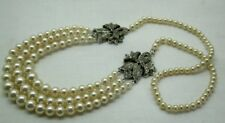 Vintage Absolutely Beautiful Silver White Stone And Simulated Pearl Necklace