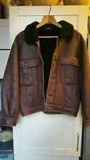 Men's BROWN Trucker Style Shearling Sheepskin Leather Jacket 100% Natural Fur