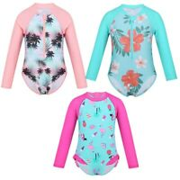 Kids Baby Girls One-piece Long Sleeves Swimsuit Swimwear Bathing Suit Rash Guard