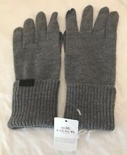 COACH Womens GREY Knit Gloves sz M/L 77728 WOOL Heather Grey NWT $75