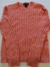 Brooks Brothers Women's Medium Peach Crew Neck Cable Knit Cotton Sweater B1
