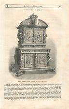 Meuble Armoire de la Salle Henri II au Louvre Paris Dessin Thérond GRAVURE 1850
