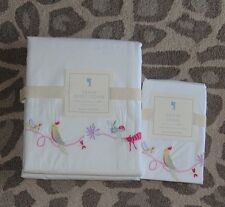 NEW Pottery barn kids Sasha Embroidered Duvet cover sham Twin flowers dragonfly