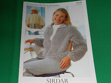 knitting pattern for  ladies and childs loopy cardigan size 24 to 36