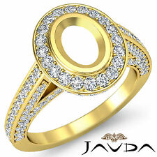 Diamond Engagement Oval Semi Mount Ring 1.25 Ct. Pave F-G Color 14k Yellow Gold