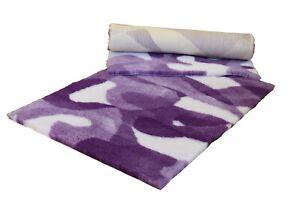 VETFLEECE Non Slip Camo Deep Pile Fleece Vet Bedding Roll Purple and White