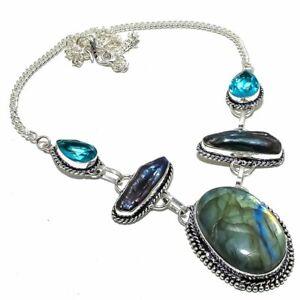 """Labradorite, Biwa Pearl, Blue Topaz Jewelry Necklace 18"""" NLG3639"""