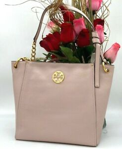 NWT $478 Tory Burch Everly Logo Chain Pebbled  Leather Hobo In Shell Pink