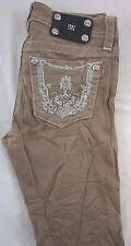 Miss Me Kids Girls Khaki Skinny Denim Jeans w Gem Embroidered Pkt 14 x 29 K13173