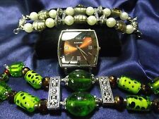 Narmi Woman's Watch with 2 Bands **Chunky Green & Brown Beaded w/Pearl  B053