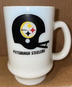 Vintage Pittsburgh Steelers Milk Glass Helmet Logo Mug Coffee cup 11 ALIVE TV