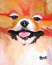 Pomeranian Dog 11x14 signed art Print Rjk painting