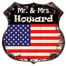 Bp0236 America Flag Mr. & Mrs Howard Family Name Sign Home Chic Decor Gift