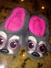 Girls Justice Raccoon Super Soft No Slip Slippers SZ M 3-6