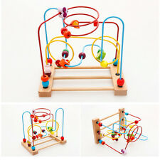 New Child Kids Baby Colorful Wooden Mini Around Beads Educational Game Toy