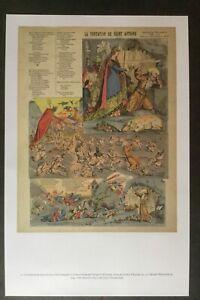 Repro antique 1899 French Print Temptation of Saint Anthony chromo litho Epinal