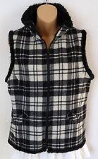 Woolrich Womens Small S Wool Blend Vest Faux Fur Plaid Black White