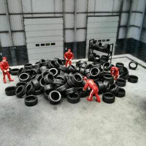 100Pack 1:64 Rubber Tire Model Car Rubber Tire Diorama Display Toy Accessories